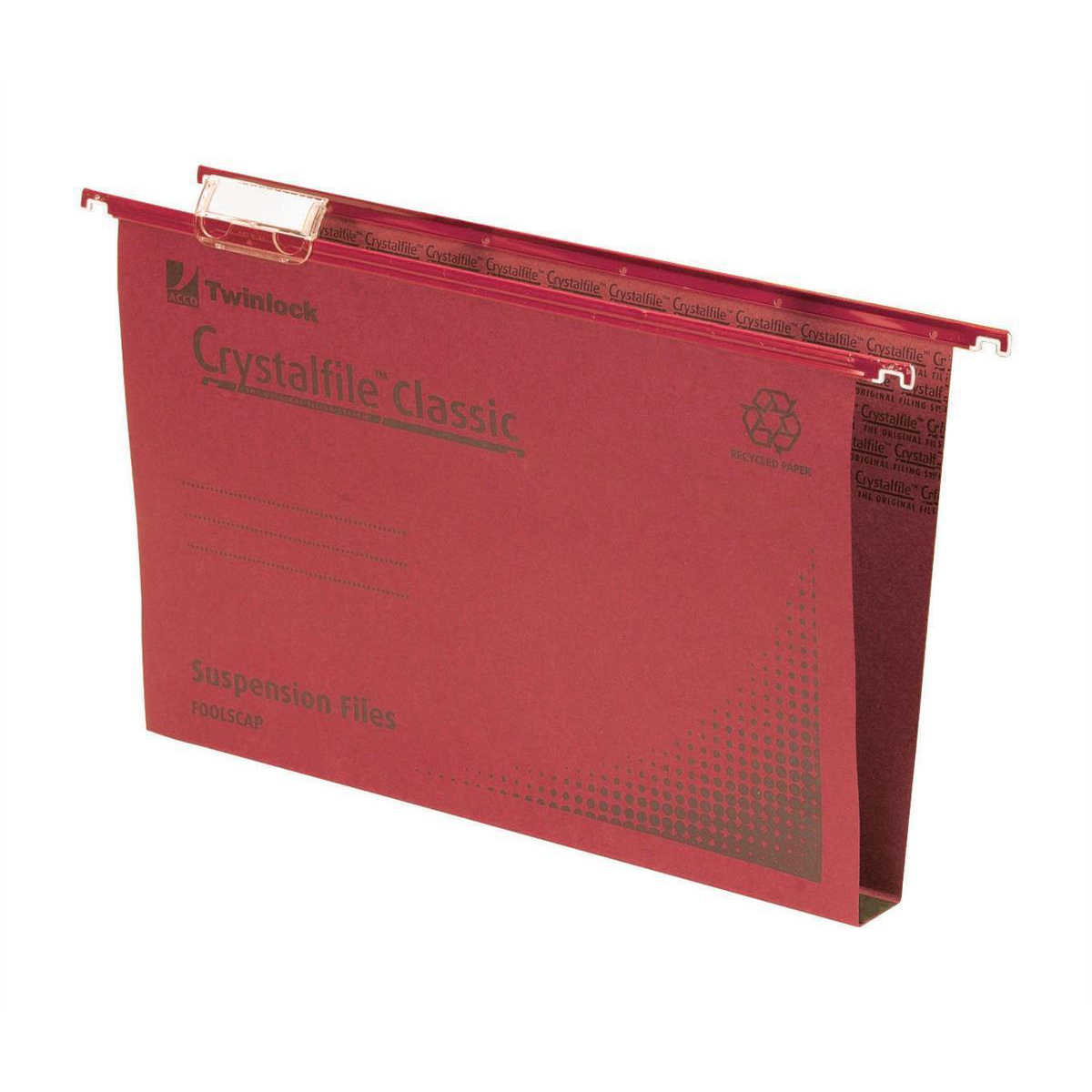 Rexel Crystalfile Classic Suspension File Manilla 30mm Wide-base 230gsm Foolscap Red Ref 70622 Pack 50