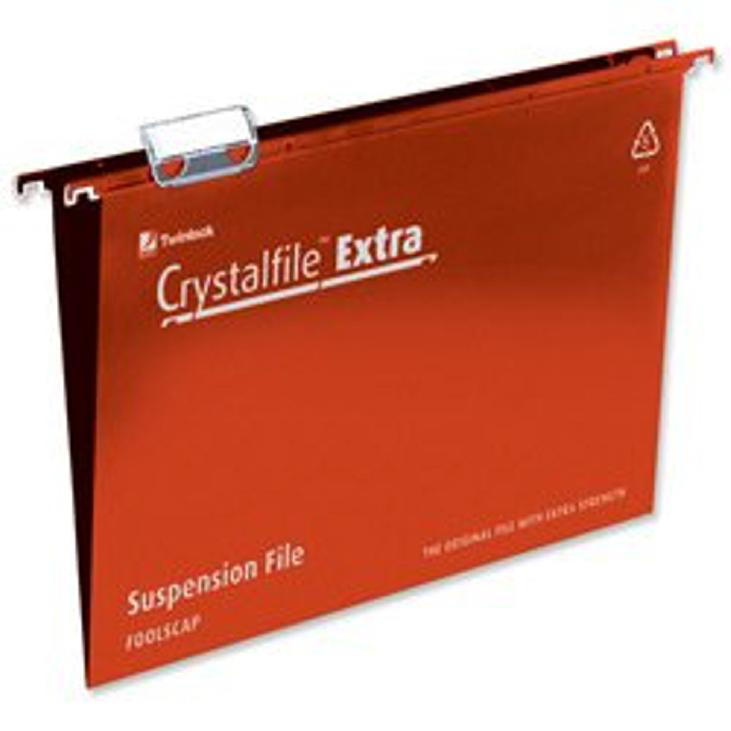 Rexel Crystalfile Extra Suspension File Polypropylene 15mm V-base Foolscap Red Ref 70629 [Pack 25]