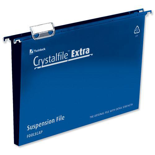 Rexel Crystalfile Extra Suspension File Polypropylene 30mm Wide-base Foolscap Blue Ref 70633 Pack 25