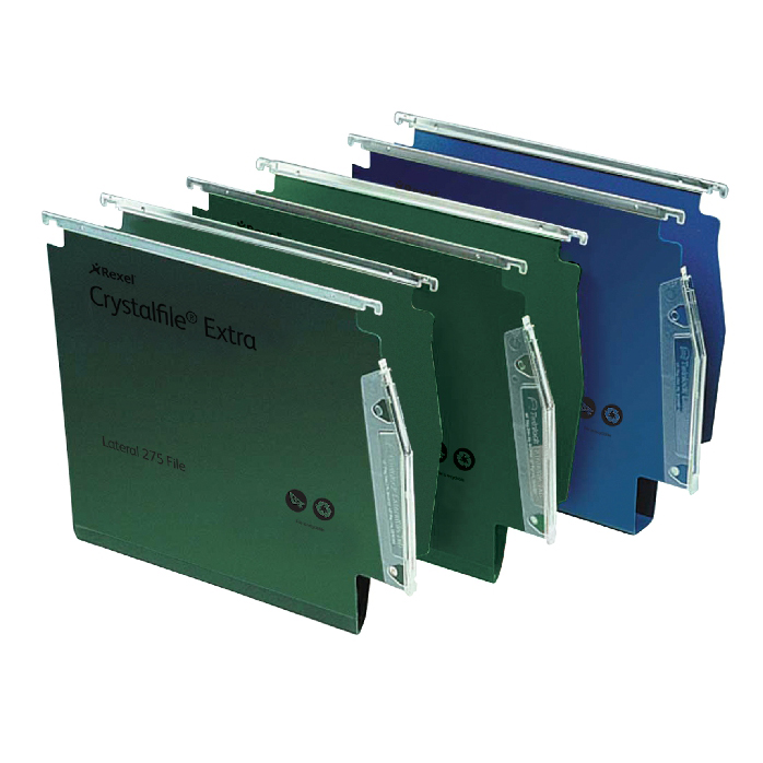 Rexel Crystalfile Extra Lateral File Polypropylene 15mm V-base A4 Green Ref 70637 Pack 25