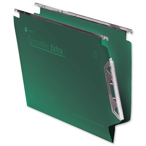 Rexel Crystalfile Classic Linking Lateral File Manilla 15mm V-base Foolscap Green Ref 70670 Pack 50