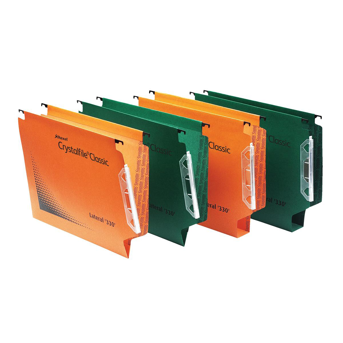 Rexel Crystalfile Classic Linking Lateral File Manilla 50mm Wide-base Foolscap Green Ref 70672 Pack 25