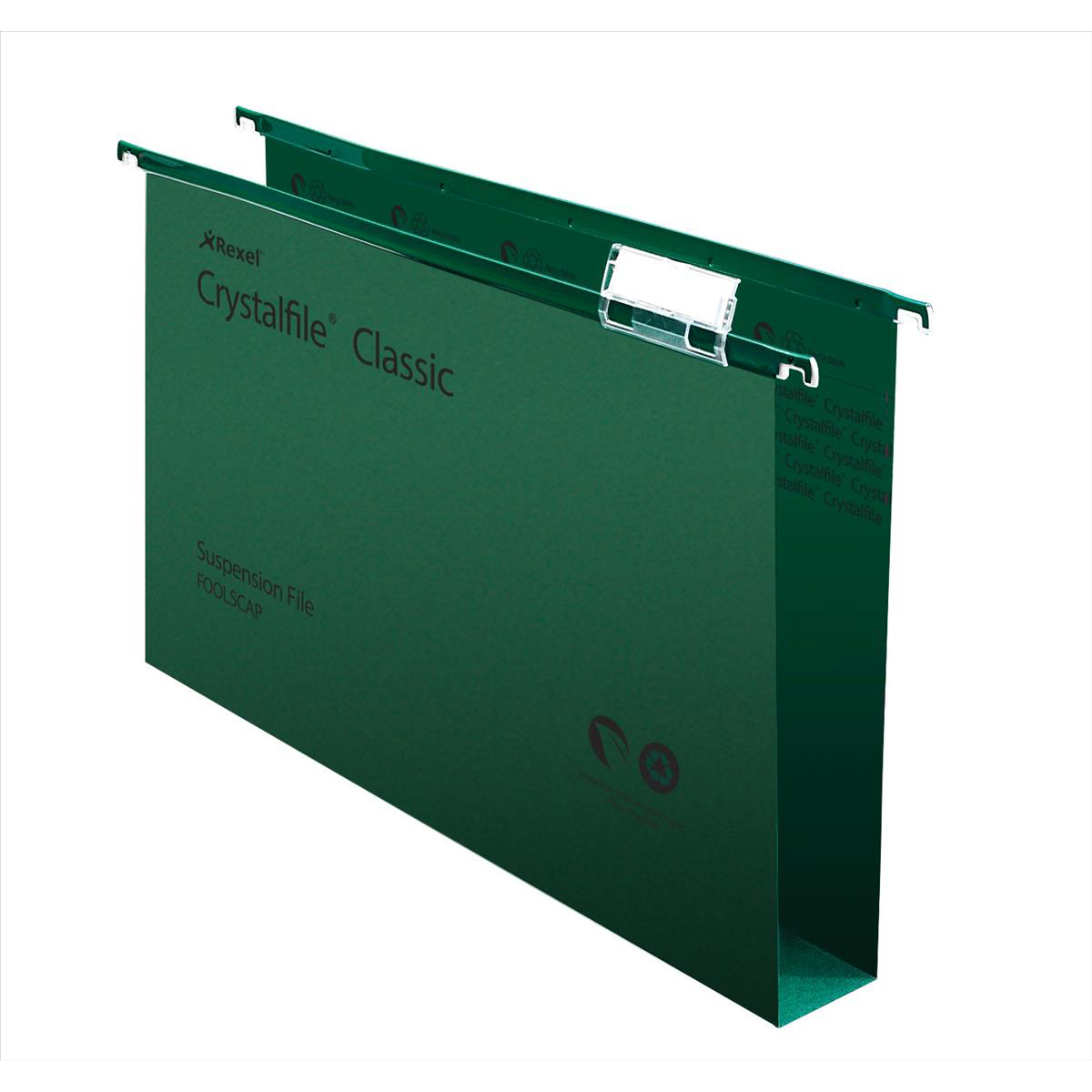 Rexel Crystalfile Classic Suspension File Wide-base 50mm 230gsm Foolscap Green Ref 71750 Pack 50