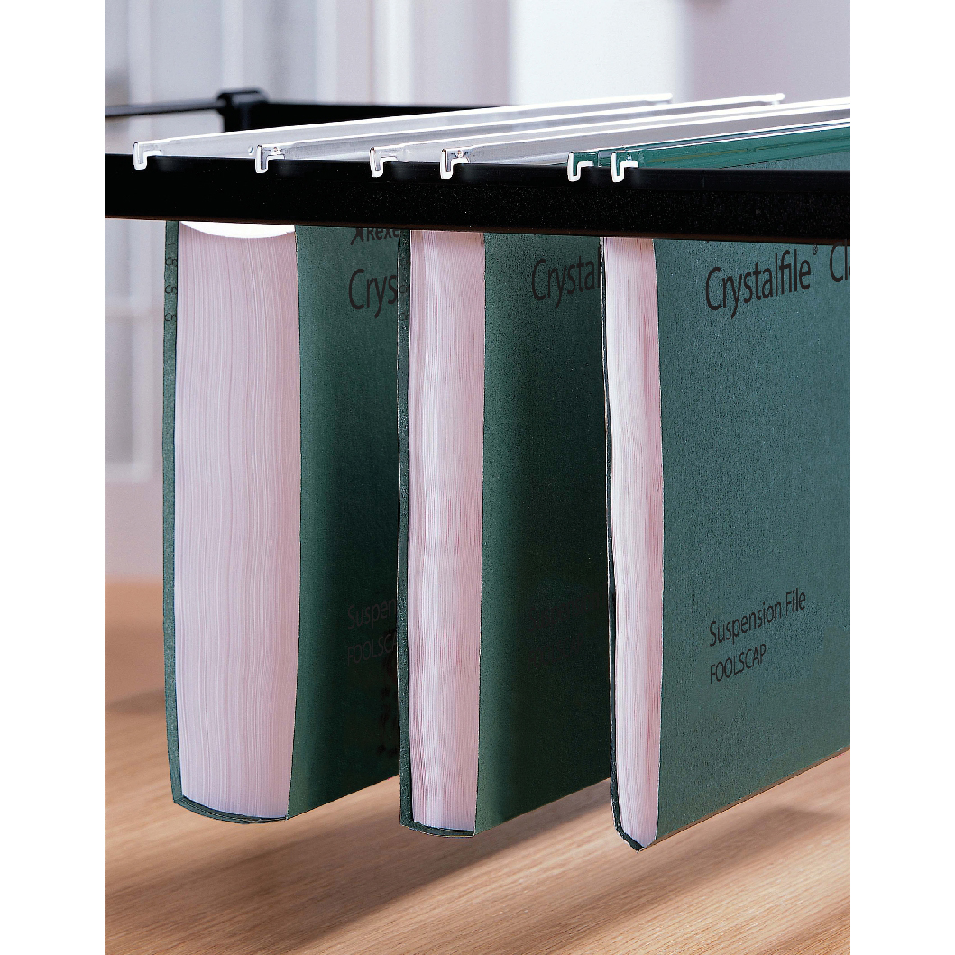 Rexel Crystalfile Classic Suspension File Wide-base 50mm 230gsm Foolscap Green Ref 71750 [Pack 50]