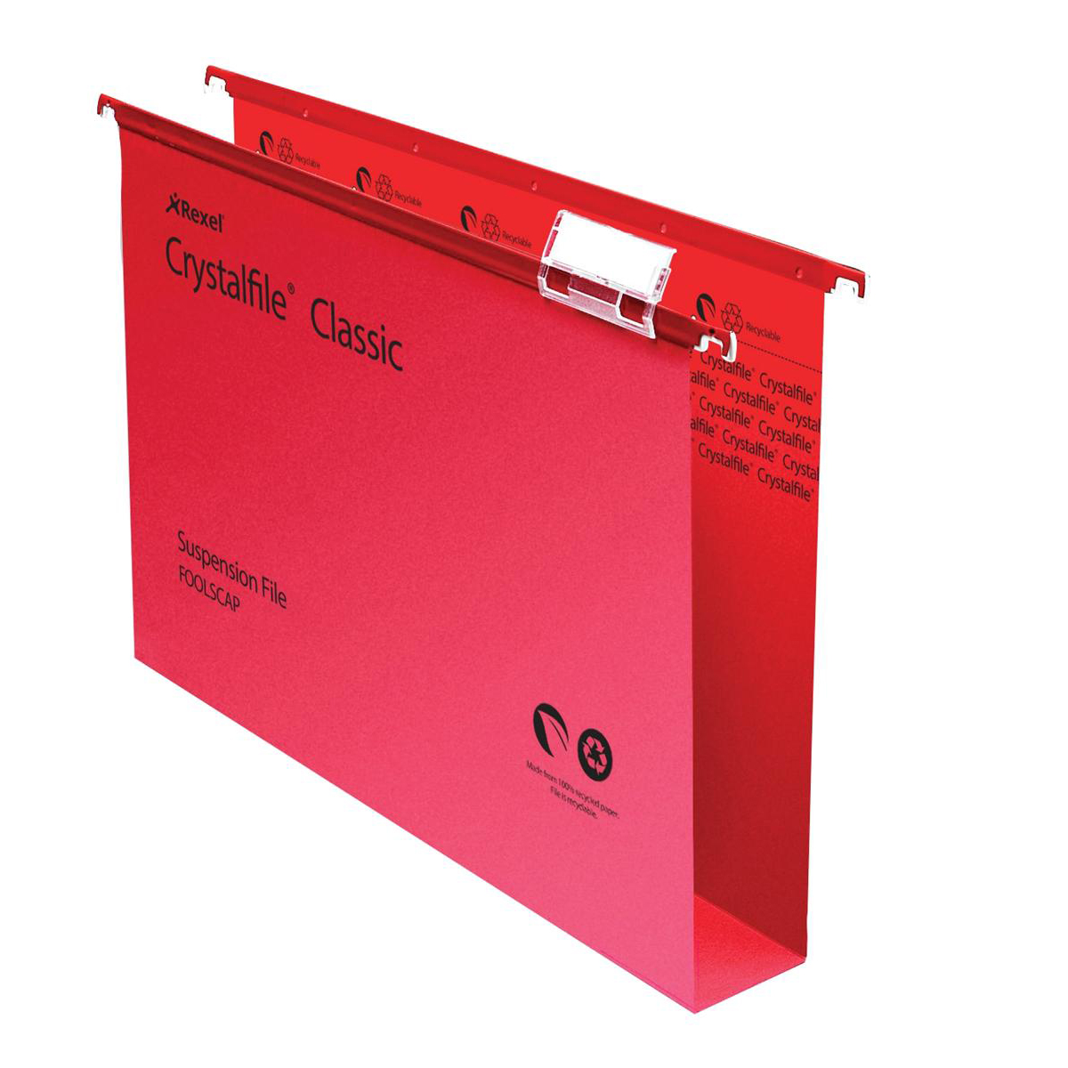 Rexel Crystalfile Classic Suspension File Manilla 50mm Wide-base 230gsm Foolscap Red Ref 71752 Pack 50