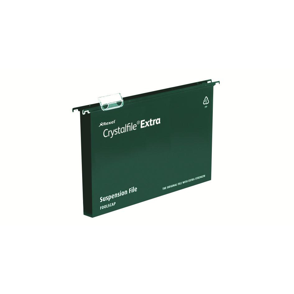 Rexel Crystalfile Extra Suspension File Polypropylene 30mm Wide-base A4 Green Ref 71759 Pack 25