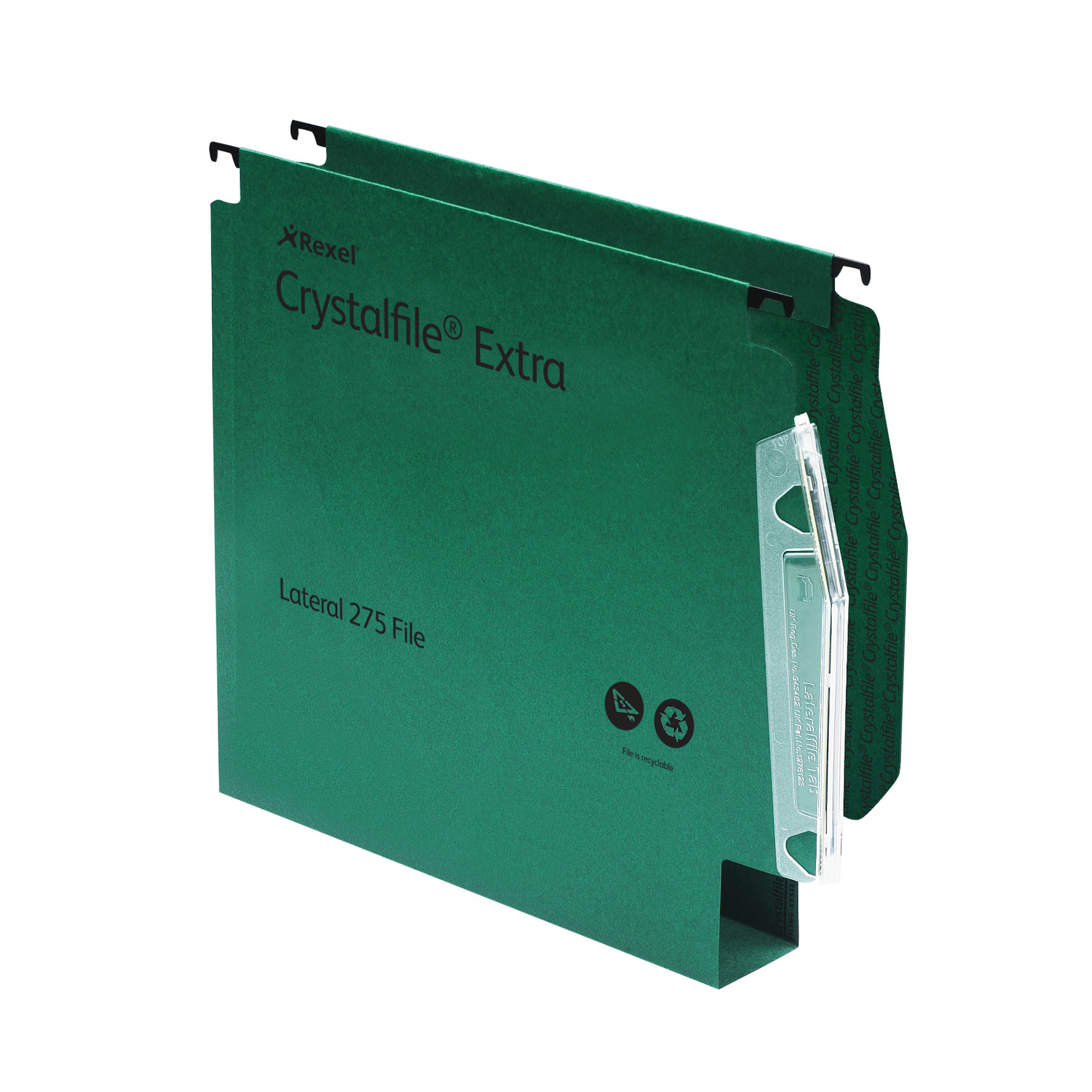 Rexel Crystalfile Extra Lateral File Polypropylene 50mm Wide-base A4 Green Ref 71763 Pack 25