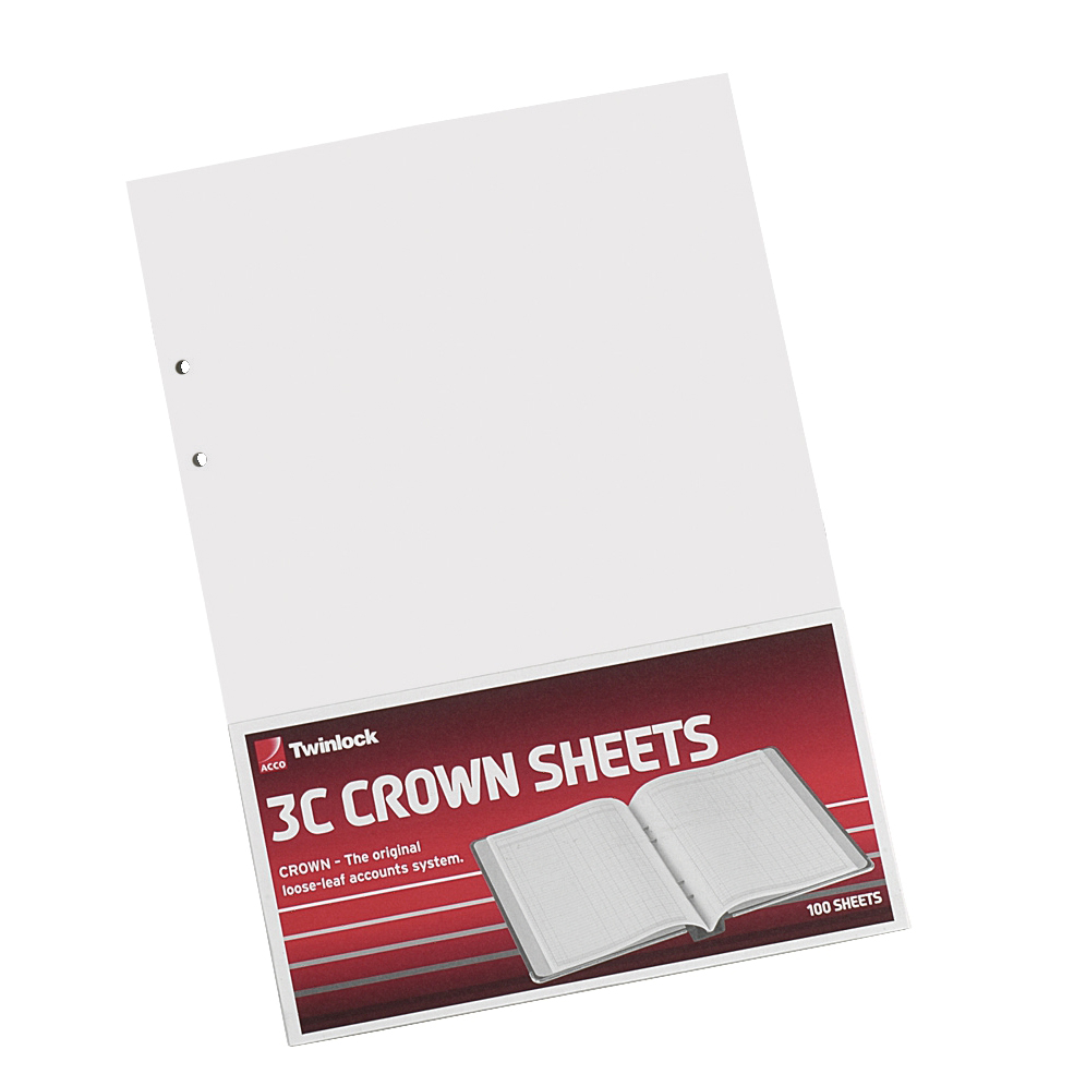 Accounting forms or accounting books Twinlock 3C Crown Double Ledger Sheets 322x228mm Ref 75841 Pack 100