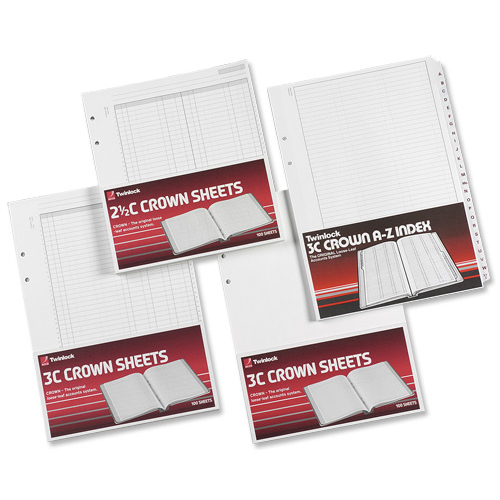 Twinlock 3C Crown Double Ledger Sheets 322x228mm Ref 75841 Pack 100