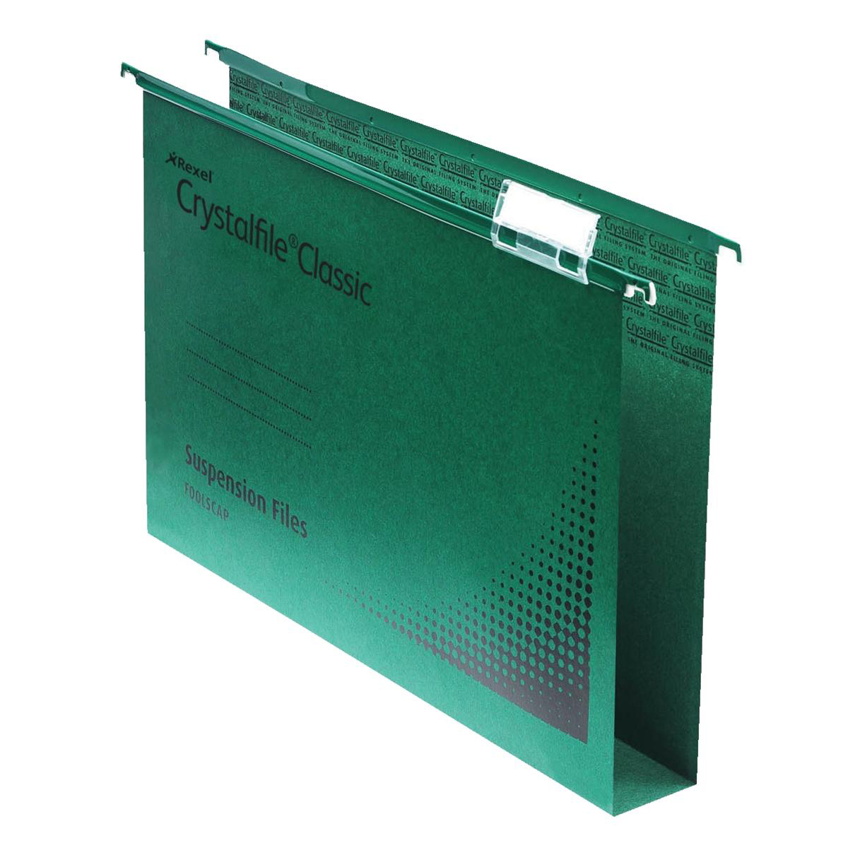 Rexel Crystalfile Classic Suspension File Manilla 30mm Wide-base230gsm Foolscap Green Ref 78041 [Pack 50]