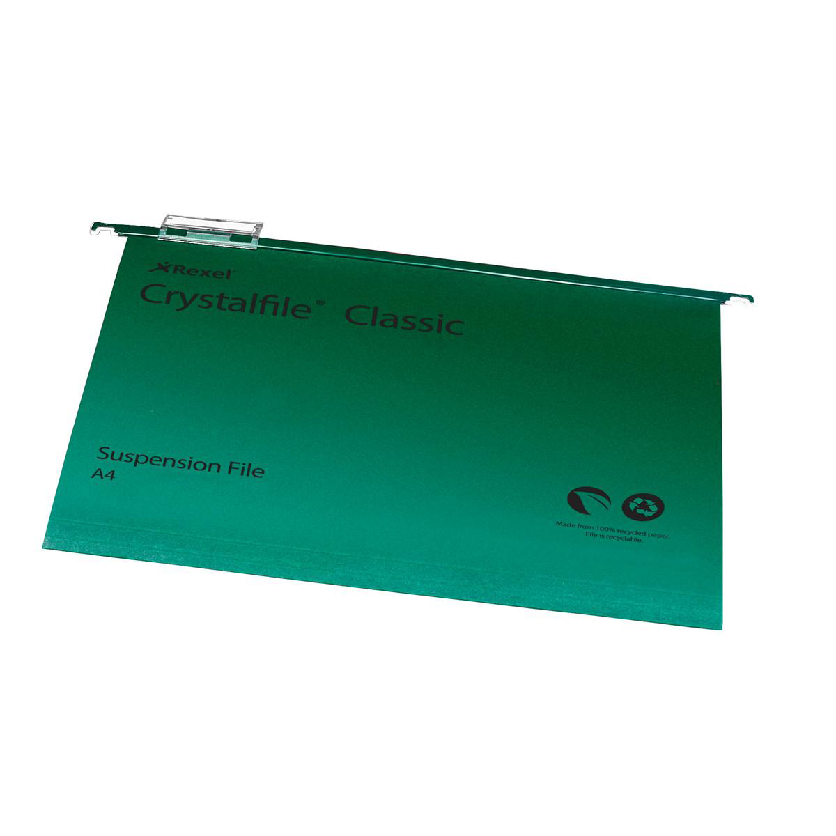 Rexel Crystalfile Classic Suspension File Manilla 15mm V-base 230gsm A4 Green Ref 78045 Pack 50