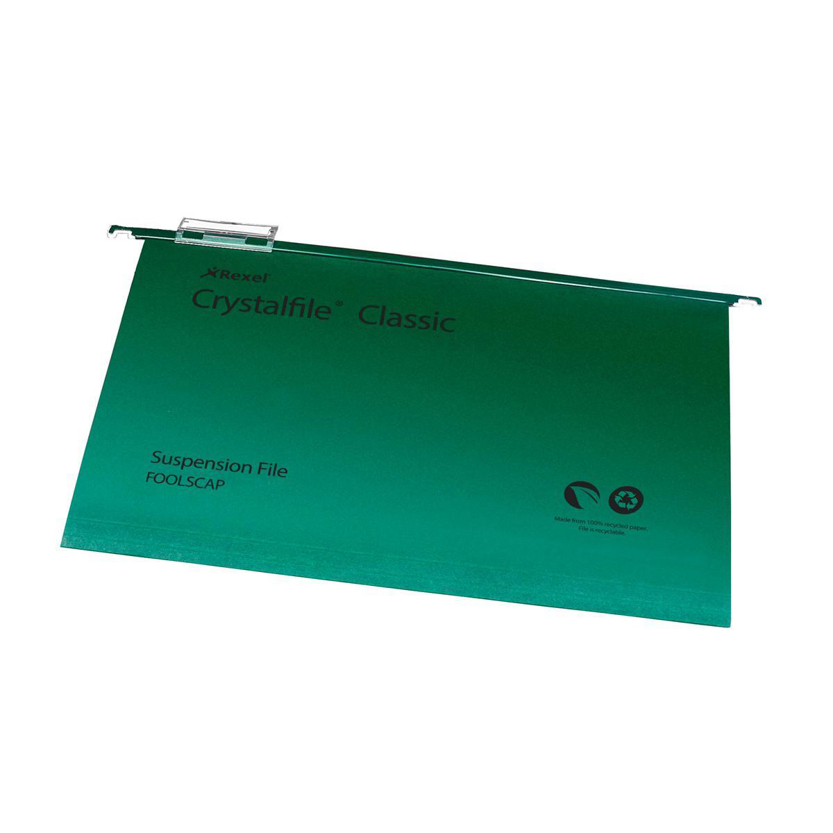 Rexel Crystalfile Classic Suspension File Manilla V-base Foolscap Green Ref 78046 [Pack 50] [COMPETITION]