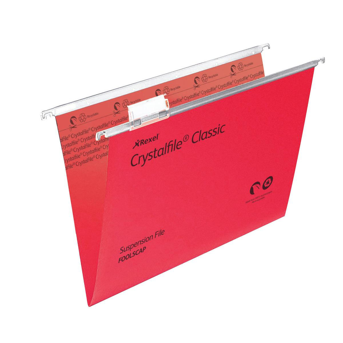 Rexel Crystalfile Classic Suspension File Manilla V-base Foolscap Red Ref 78141 Pack 50 COMPETITION