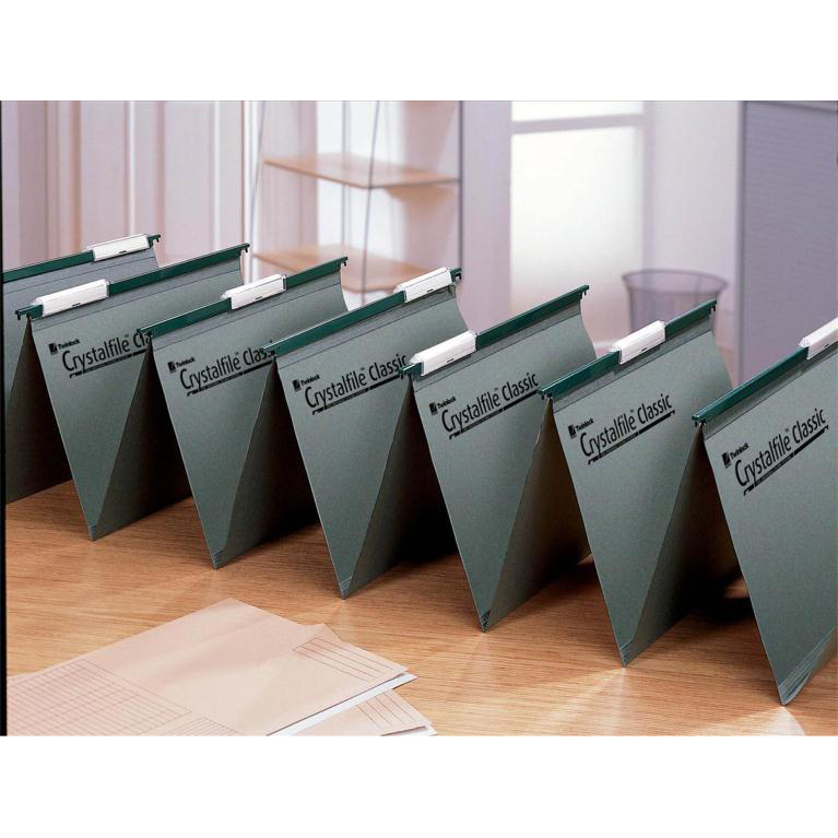 Rexel Crystalfile Classic Linking Suspension File Manilla 15mm V-base Foolscap Green Ref 78650 Pack 50