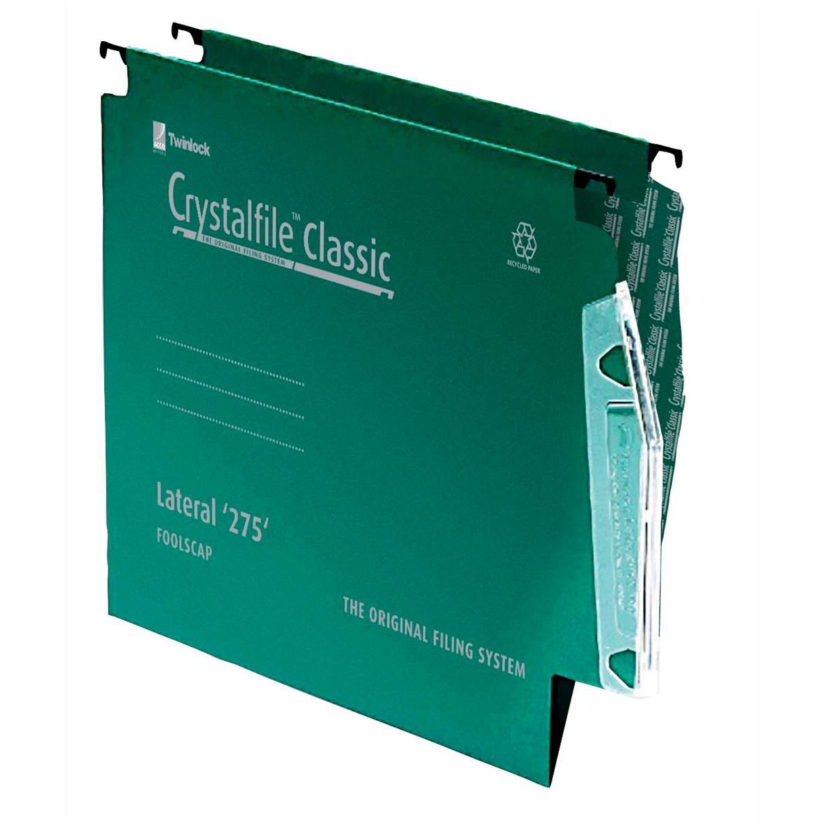 Rexel Crystalfile Classic Linking Lateral File Manilla 15mm V-base Green 230gsm A4 Ref 78652 Pack 50