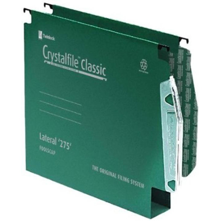 Rexel Crystalfile Classic Linking Lateral File Manilla 30mm Wide-base Green 230gsm A4 Ref 78654 Pack 50