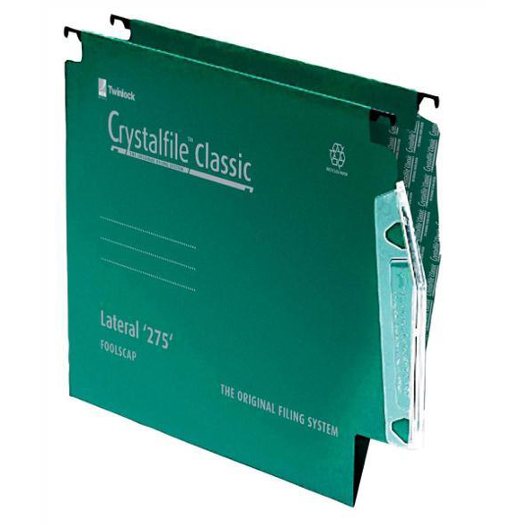 Rexel Crystalfile Classic Linking Lateral File Manilla 15 V-base Green 230gsm A4 Ref 78655 Pack 50
