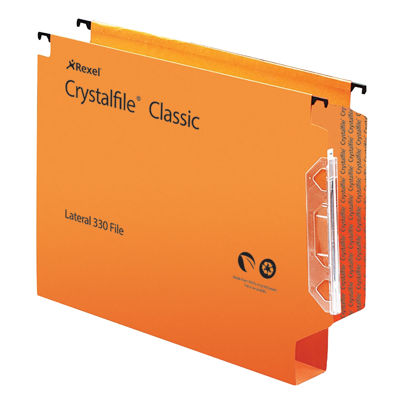Lateral Files Rexel Crystalfile Extra Lateral File Polypropylene 30mm Wide-base Foolscap Orange Ref 300125 Pack 25