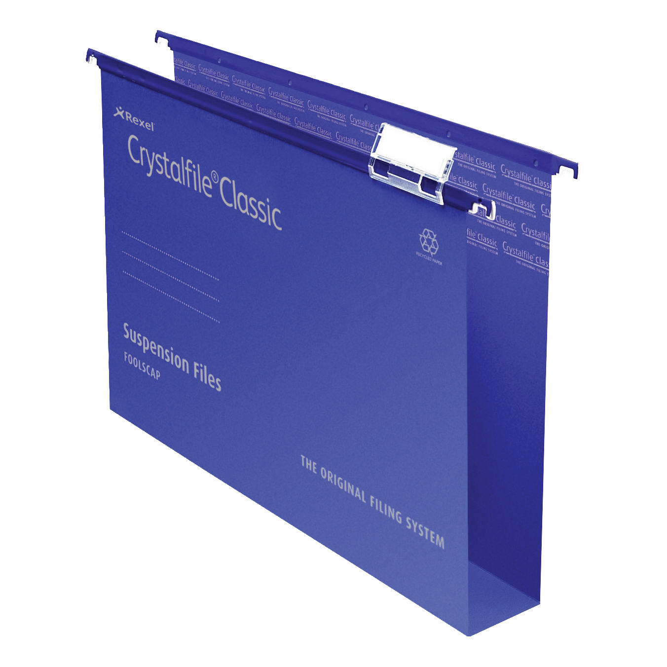 Rexel Crystalfile Classic Suspension File Manilla 50mm Wide-base 230gsm Foolscap Blue Ref 71751 Pack 50