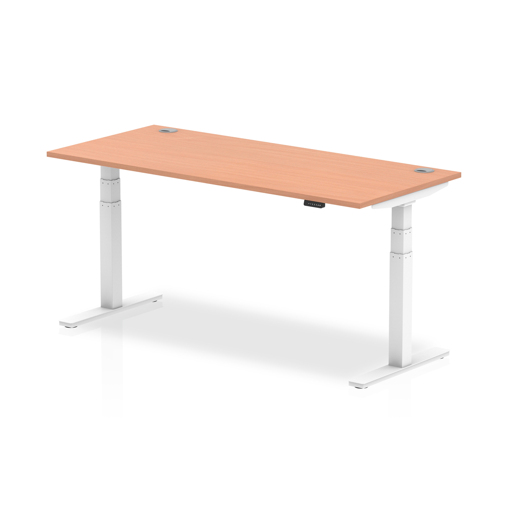 Trexus Sit Stand Desk With Cable Ports White Legs 1800x800mm Beech Ref HA01104