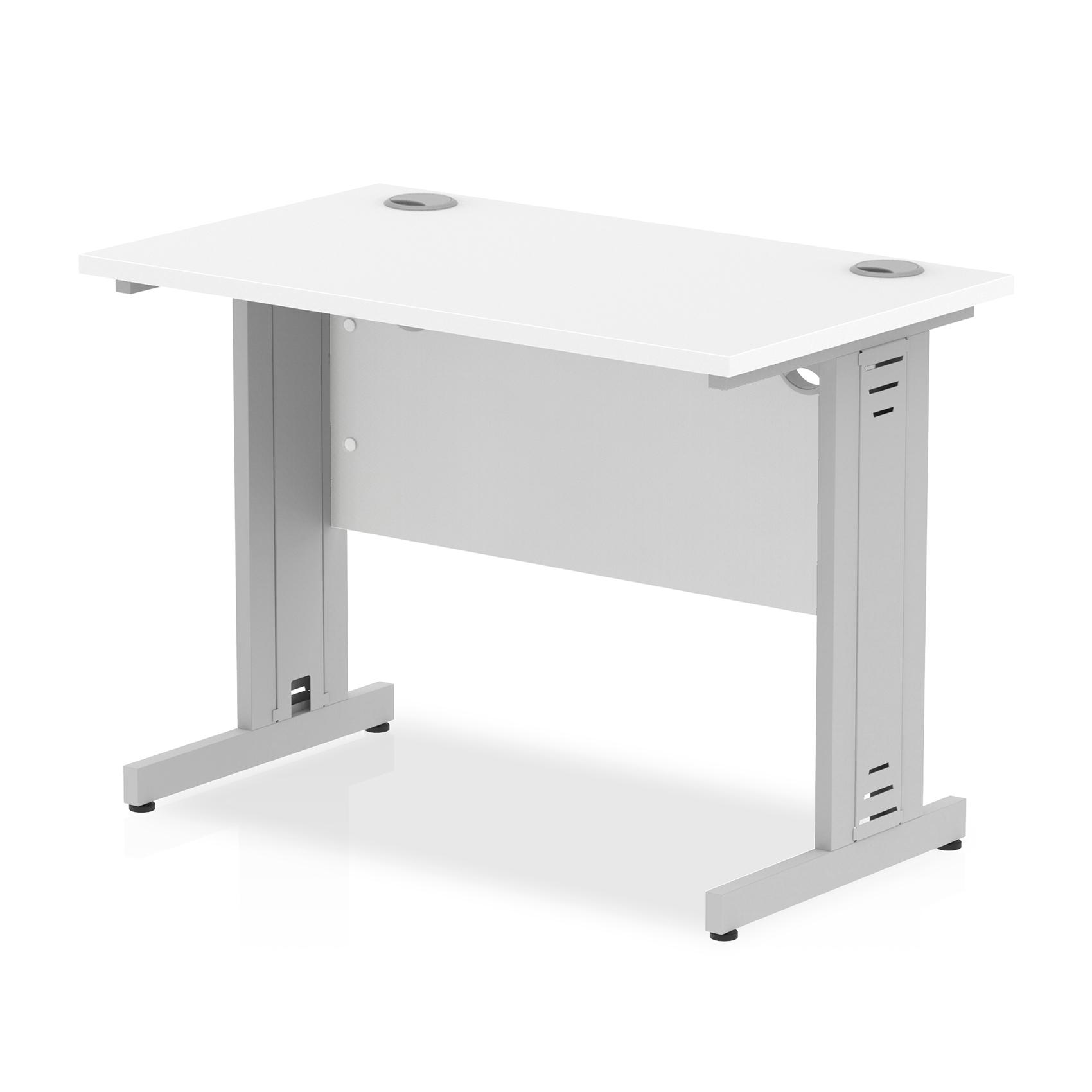 Trexus Desk Rectangle Cable Managed White Leg 1000x600mm White Ref MI002280