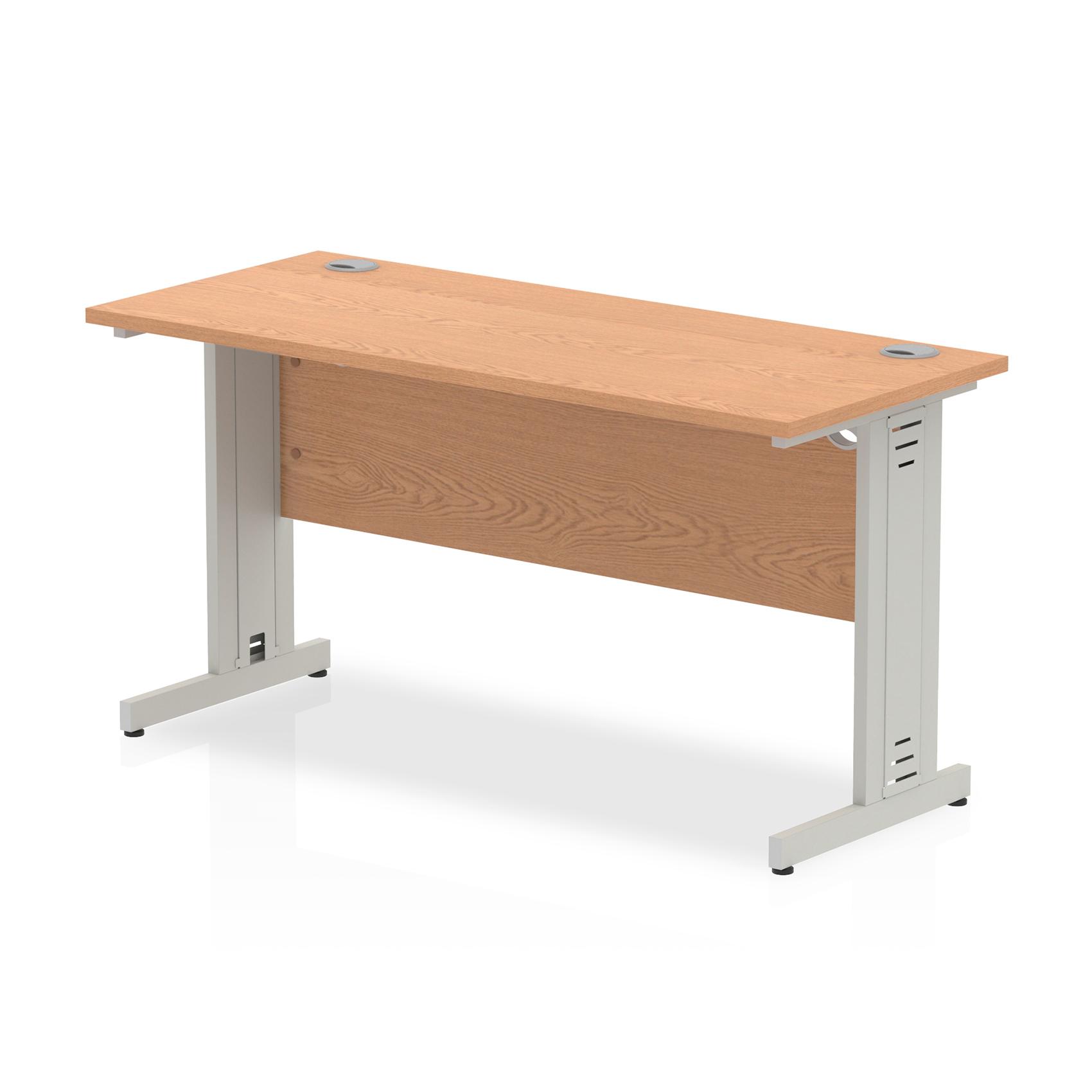 Trexus Desk Rectangle Cable Managed Silver Leg 1400x600mm Oak Ref MI002729