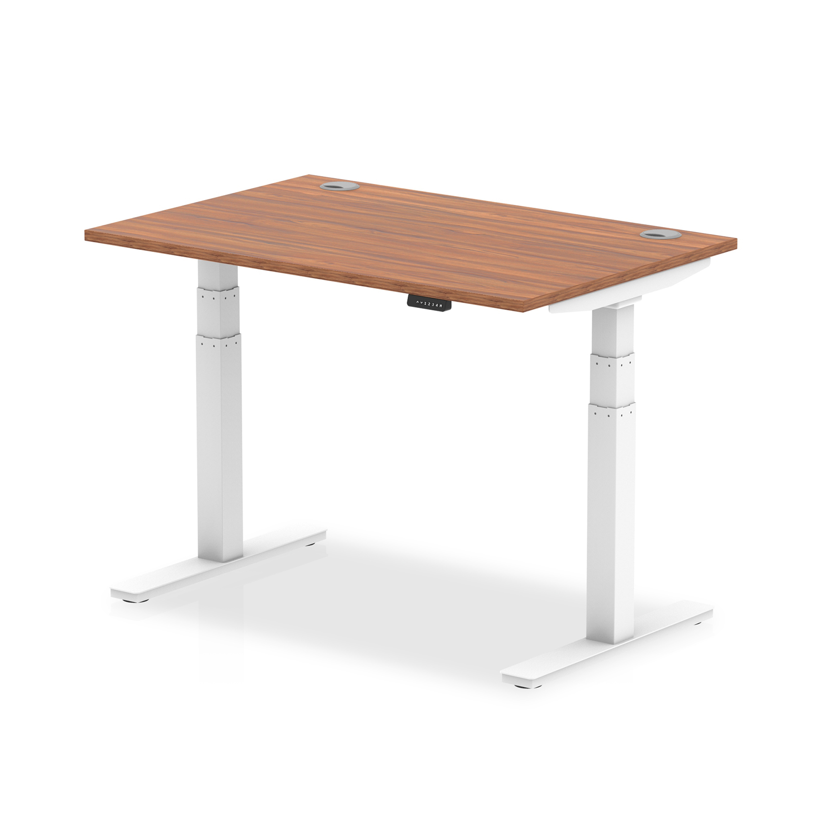 Trexus Sit Stand Desk With Cable Ports White Legs 1200x800mm Walnut Ref HA01105
