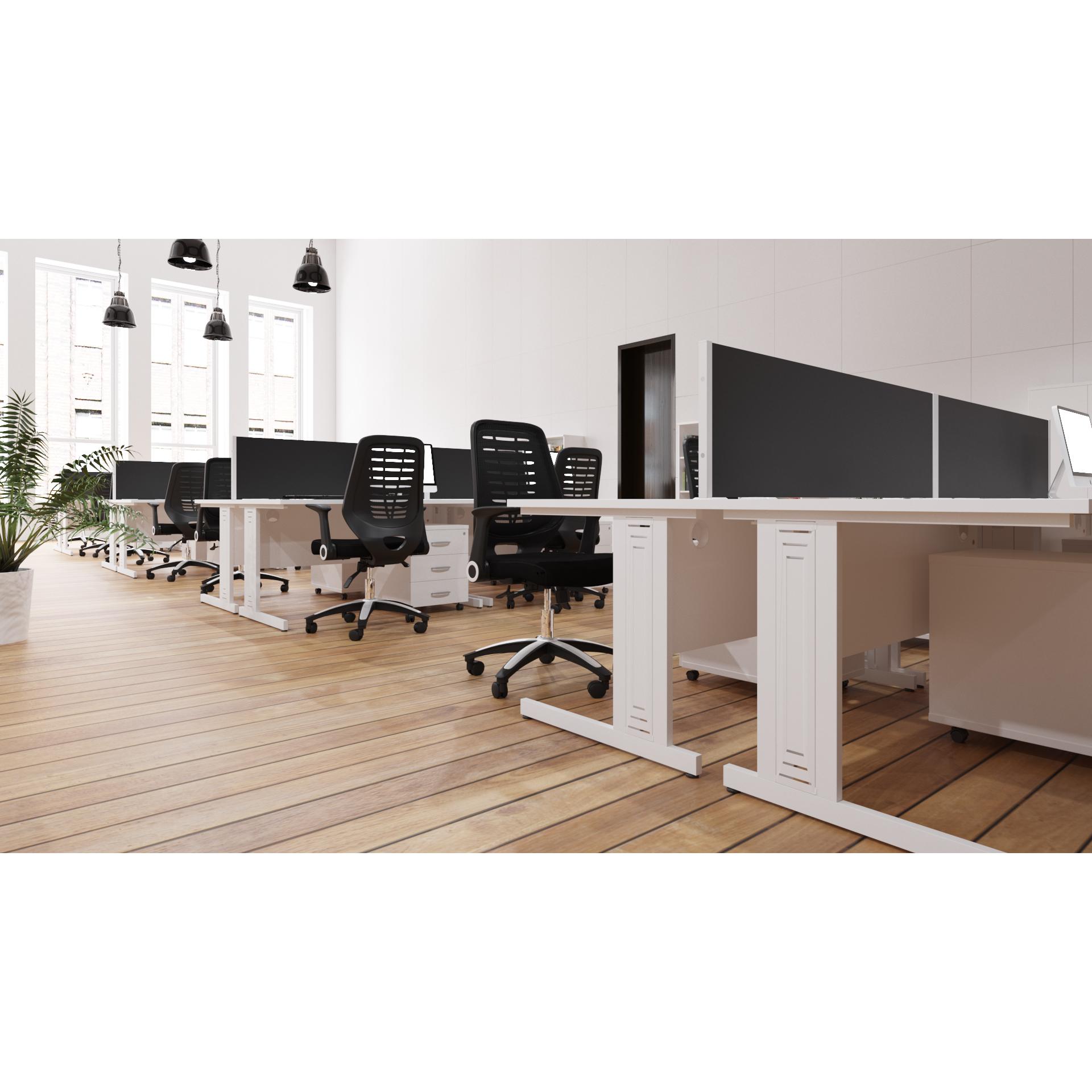 Trexus Desk Rectangle Cable Managed White Leg 1200x600mm White Ref MI002281