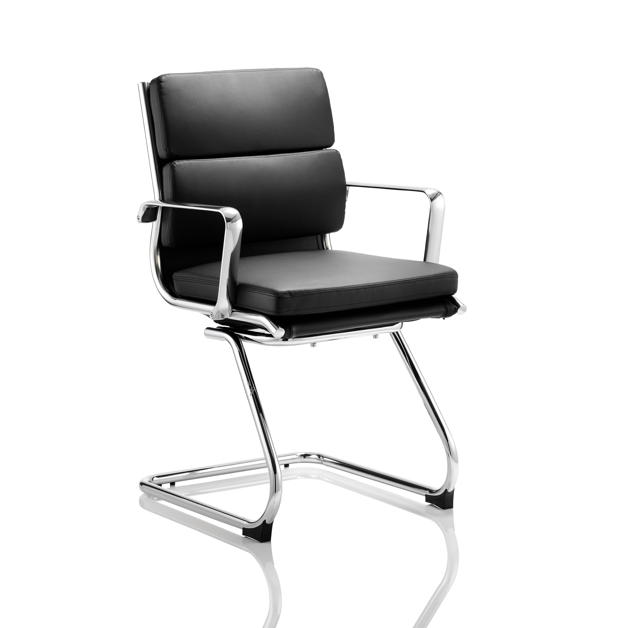 Sonix Savoy Cantilever Chair With Arms Bonded Leather Black Ref BR000126