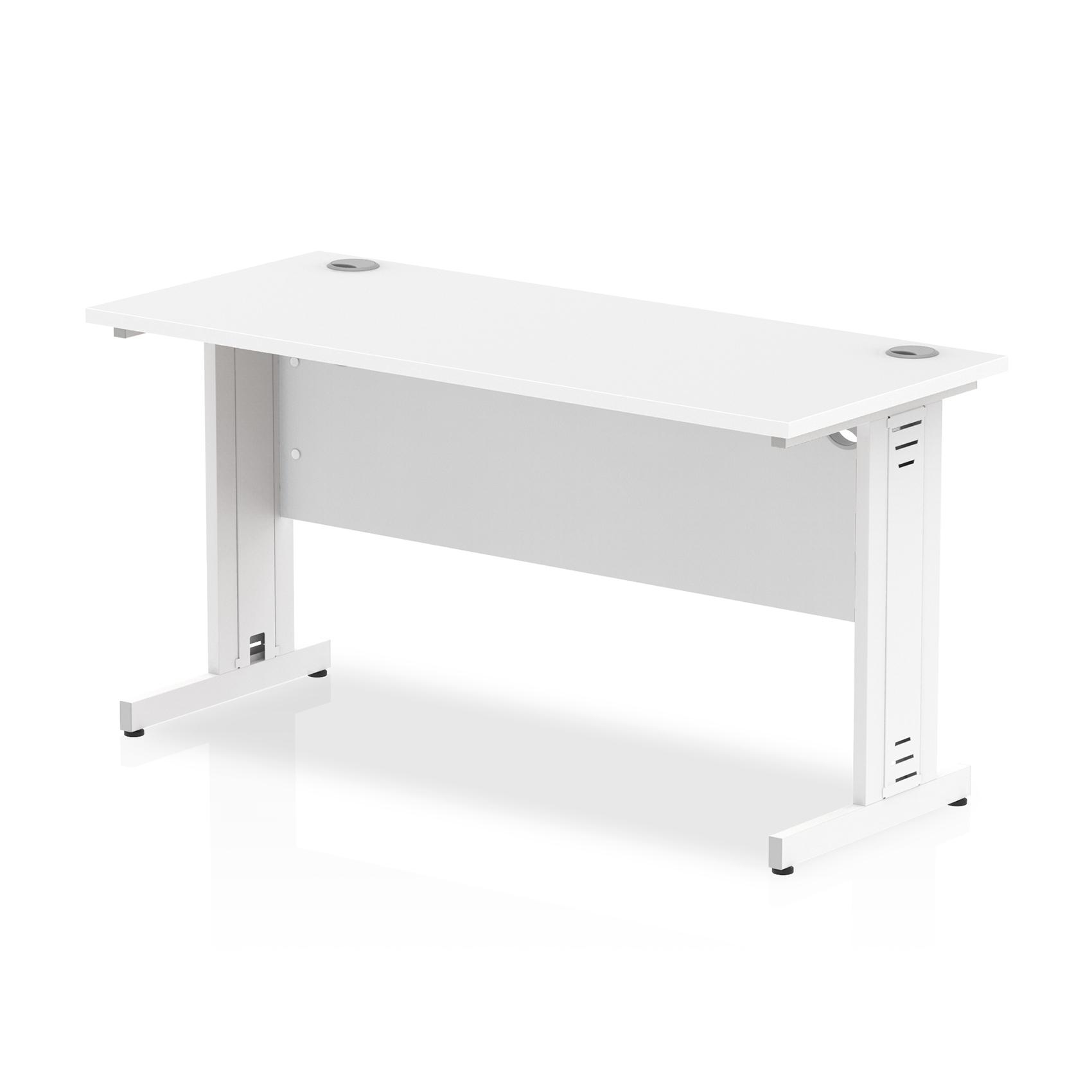 Trexus Desk Rectangle Cable Managed White Leg 1400x600mm White Ref MI002282