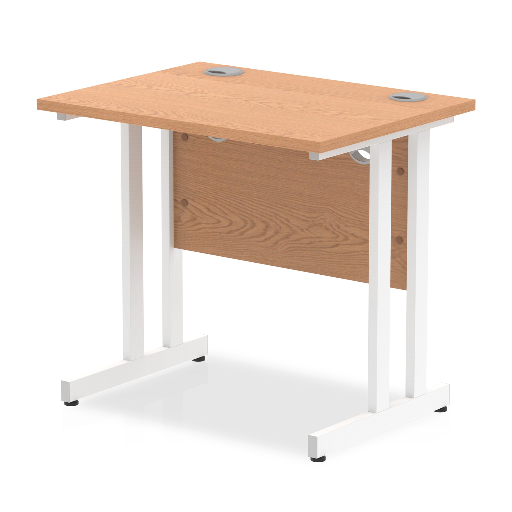 Trexus Desk Rectangle Cantilever White Leg 800x600mm Oak Ref MI002905