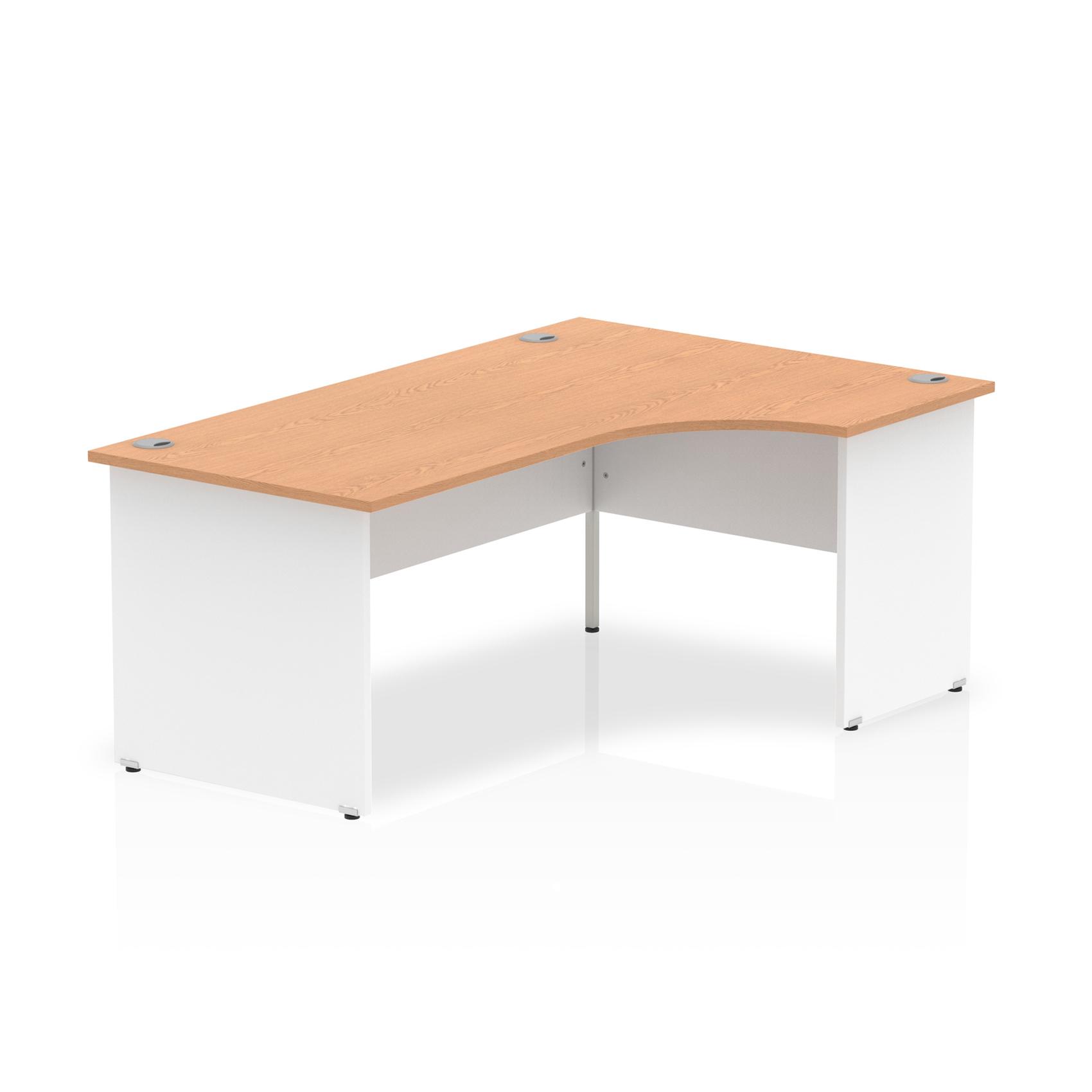 Trexus Desk Crescent Right Hand Panel End 1800x800mm Oak Top White Panels Ref TT000047