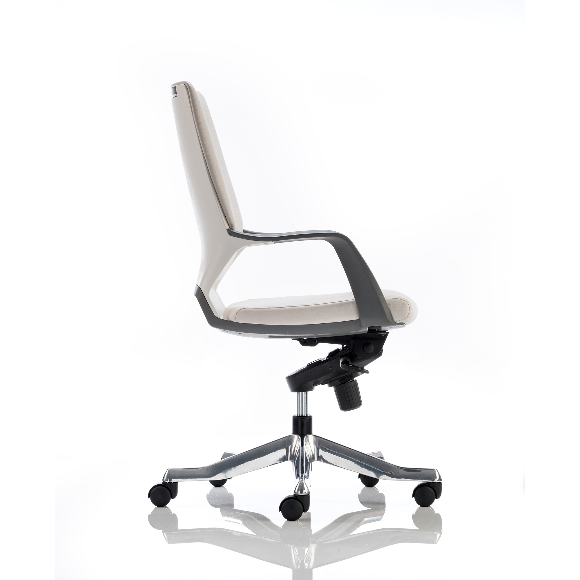 Adroit Xenon Executive With Arms Medium Back White Shell Leather White Ref EX000099