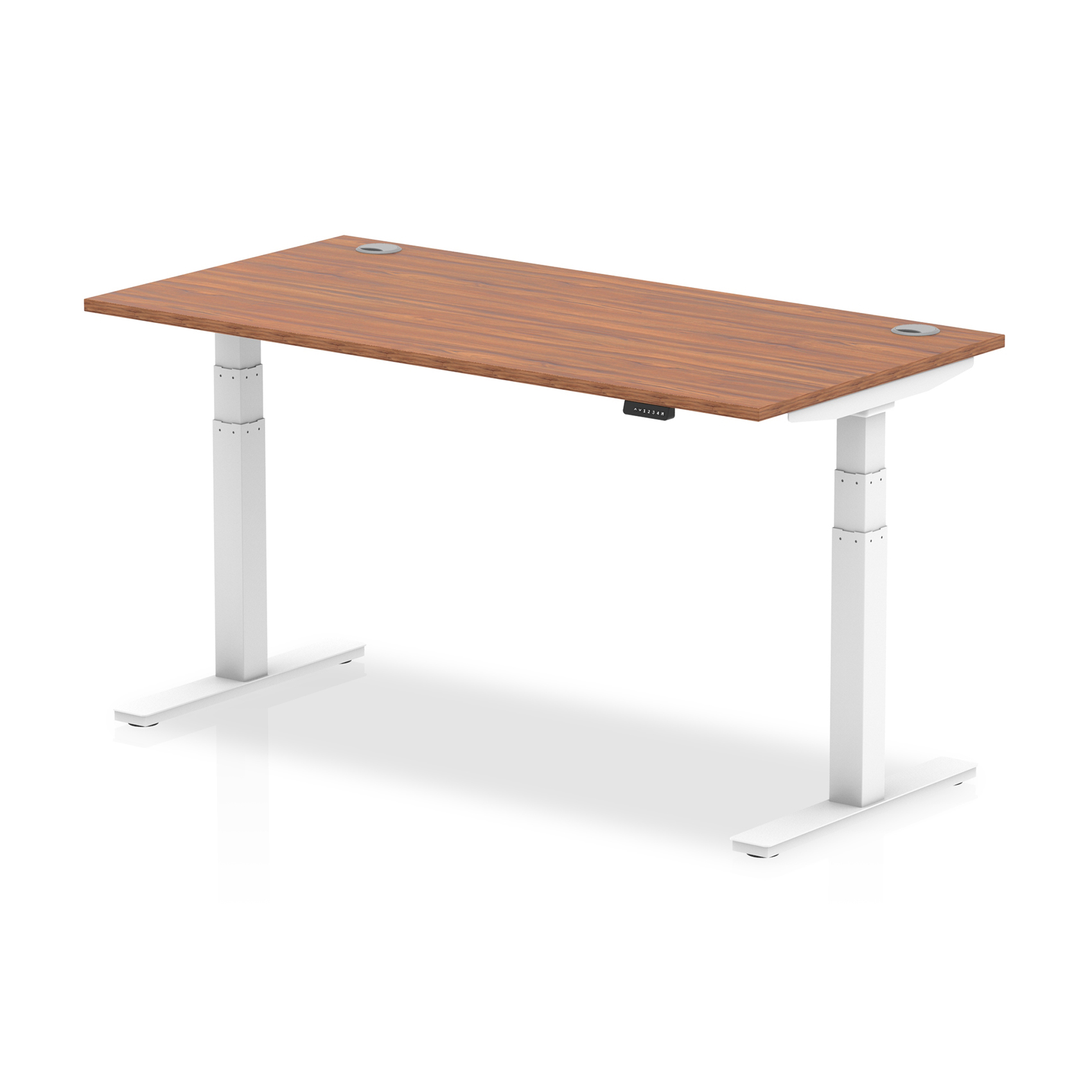 Trexus Sit Stand Desk With Cable Ports White Legs 1600x800mm Walnut Ref HA01107