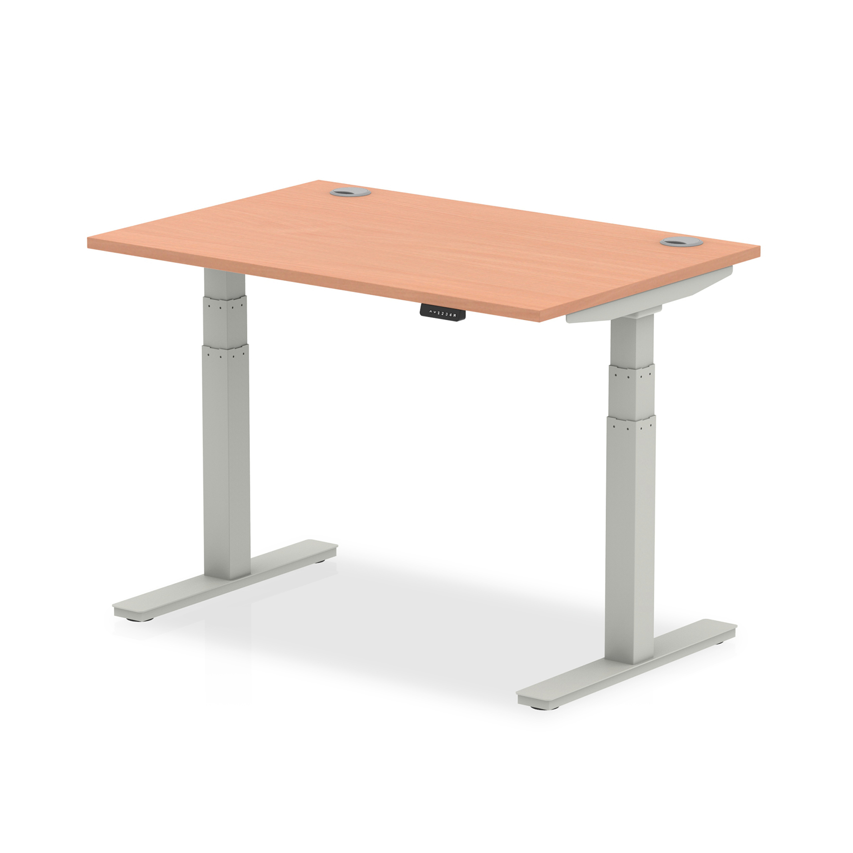 Trexus Sit Stand Desk With Cable Ports Silver Legs 1200x800mm Beech Ref HA01081