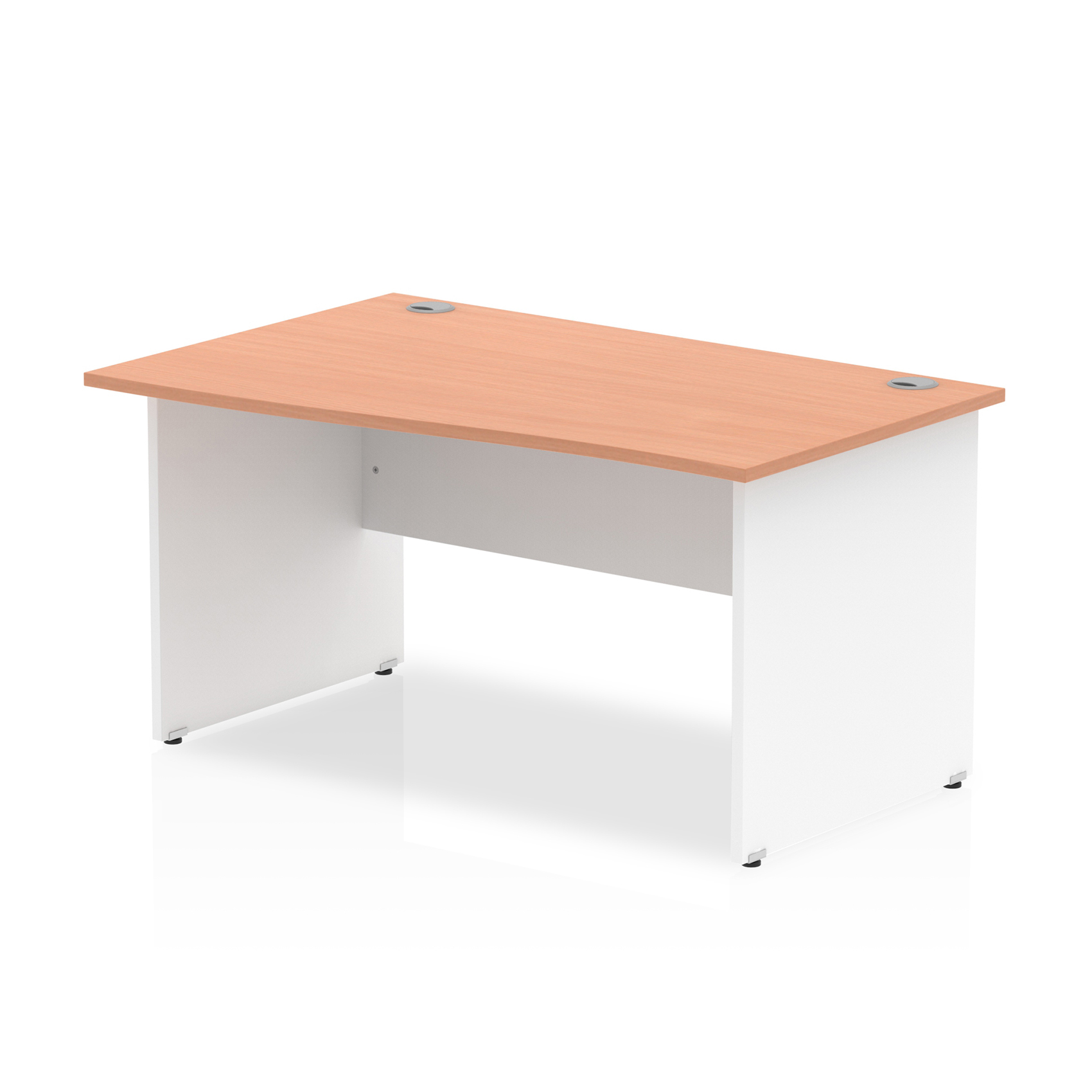 Trexus Desk Wave Left Hand Panel End 1400x800mm Beech Top White Panels Ref TT000051