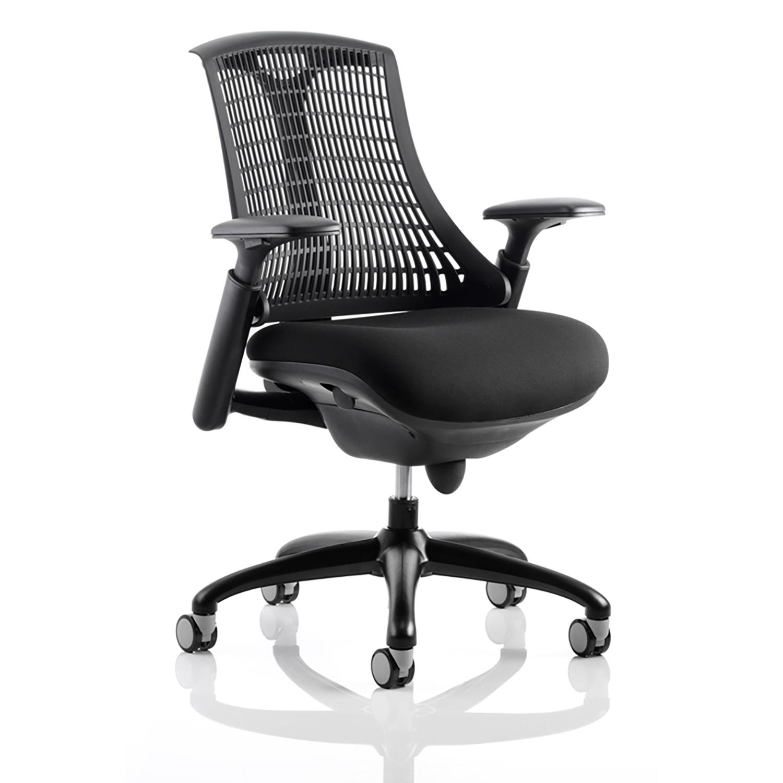 Trexus Flex Task Operator Chair With Arms Black Fabric Seat Black Back Black Frame Ref KC0071