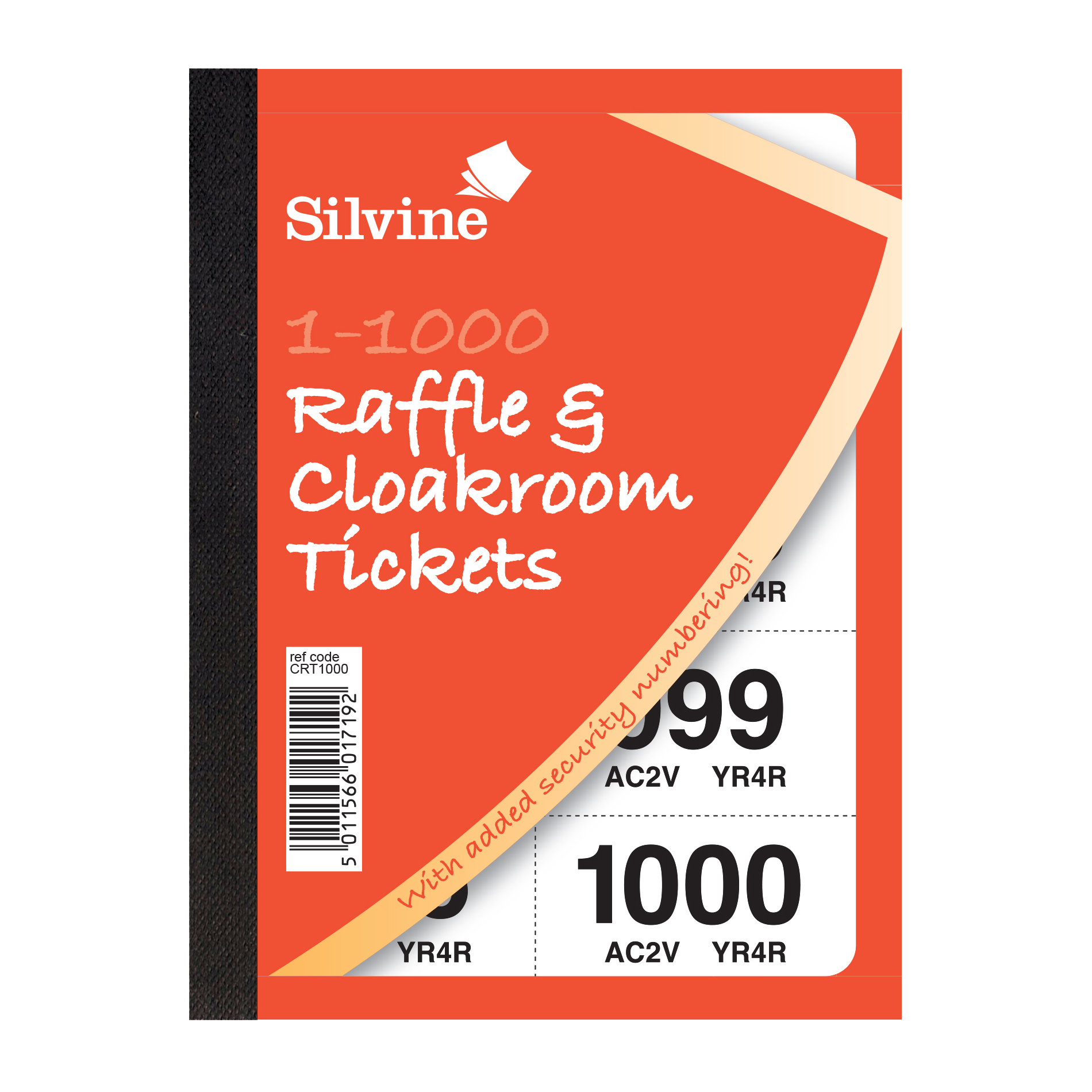 Cloakroom or Raffle Tickets Numbered 1-1000 Assorted Colours Pack 6