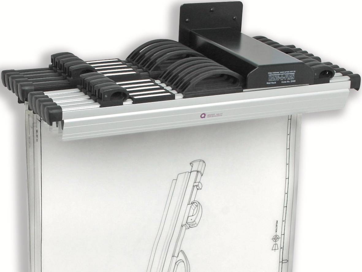 Image for Arnos Hang-A-Plan Front Load Wall Rack for 10 Binders A0-A2 W140xD300xH100mm Ref 1200