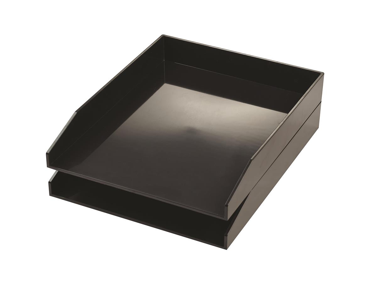 Image for Avery ColorStak Letter Tray Black Ref CS104 [Pack 2]