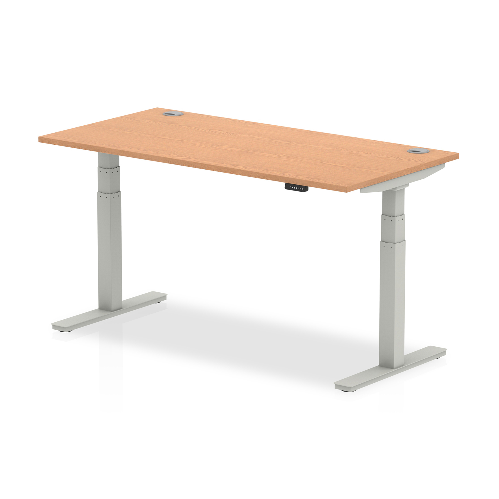 Trexus Sit Stand Desk With Cable Ports Silver Legs 1600x800mm Oak Ref HA01099