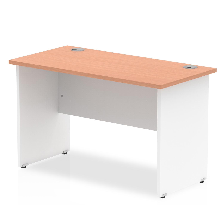 Trexus Desk Rectangle Panel End 1200x600mm Beech Top White Panels Ref TT000087