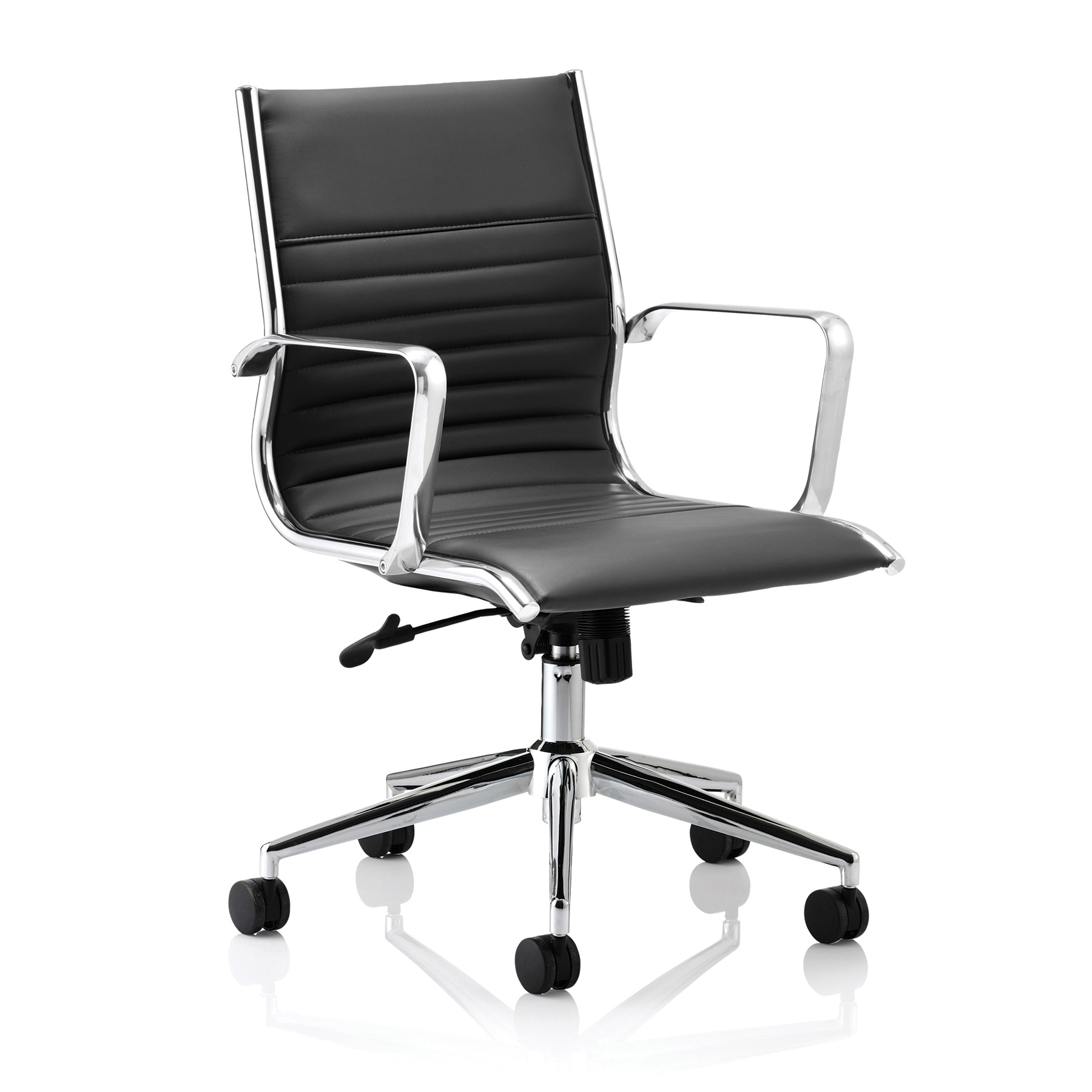 Sonix Ritz Executive Medium Back Chair With Arms Bonded Leather Black Ref EX000059
