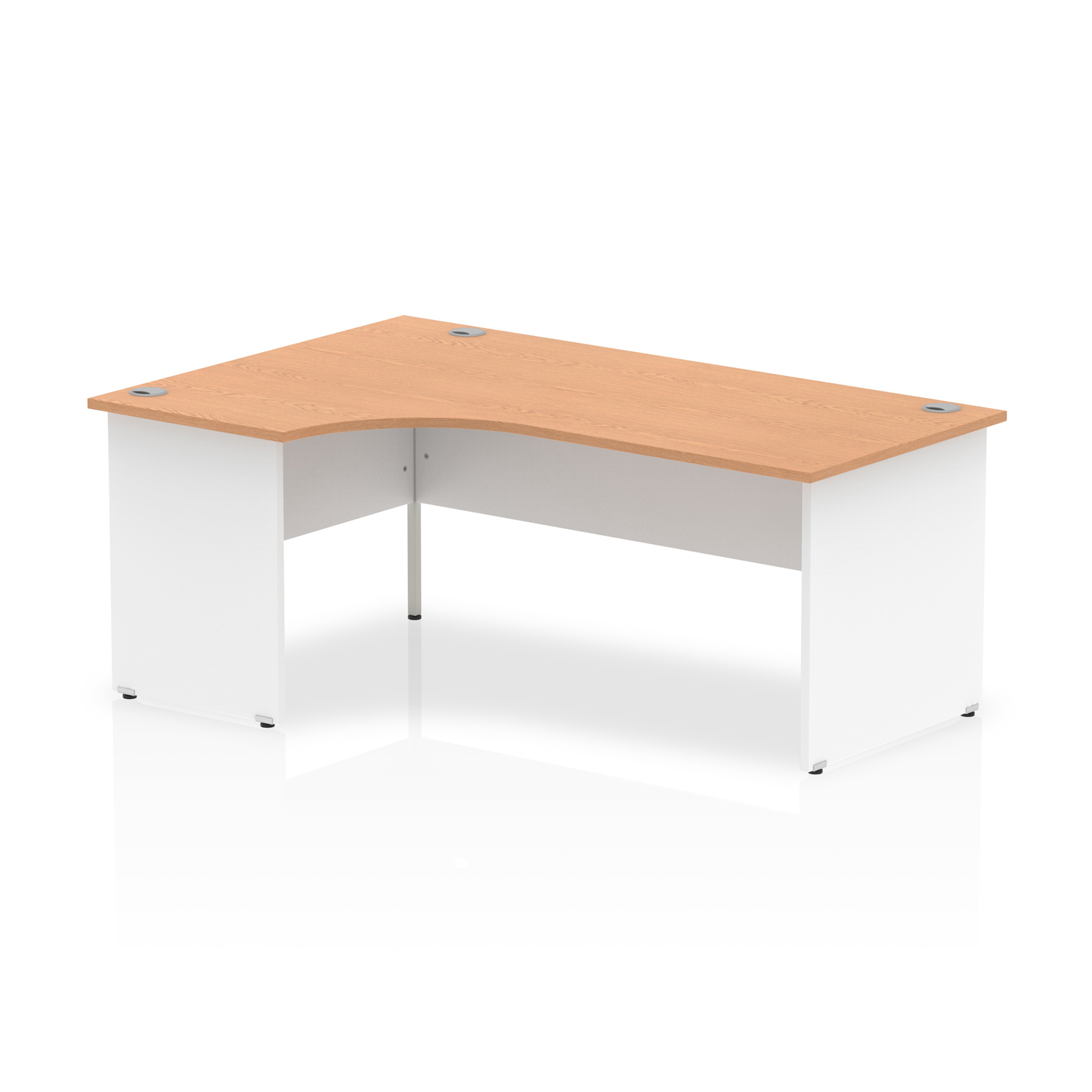 Trexus Desk Crescent Left Hand Panel End 1800x800mm Oak Top White Panels Ref TT000035