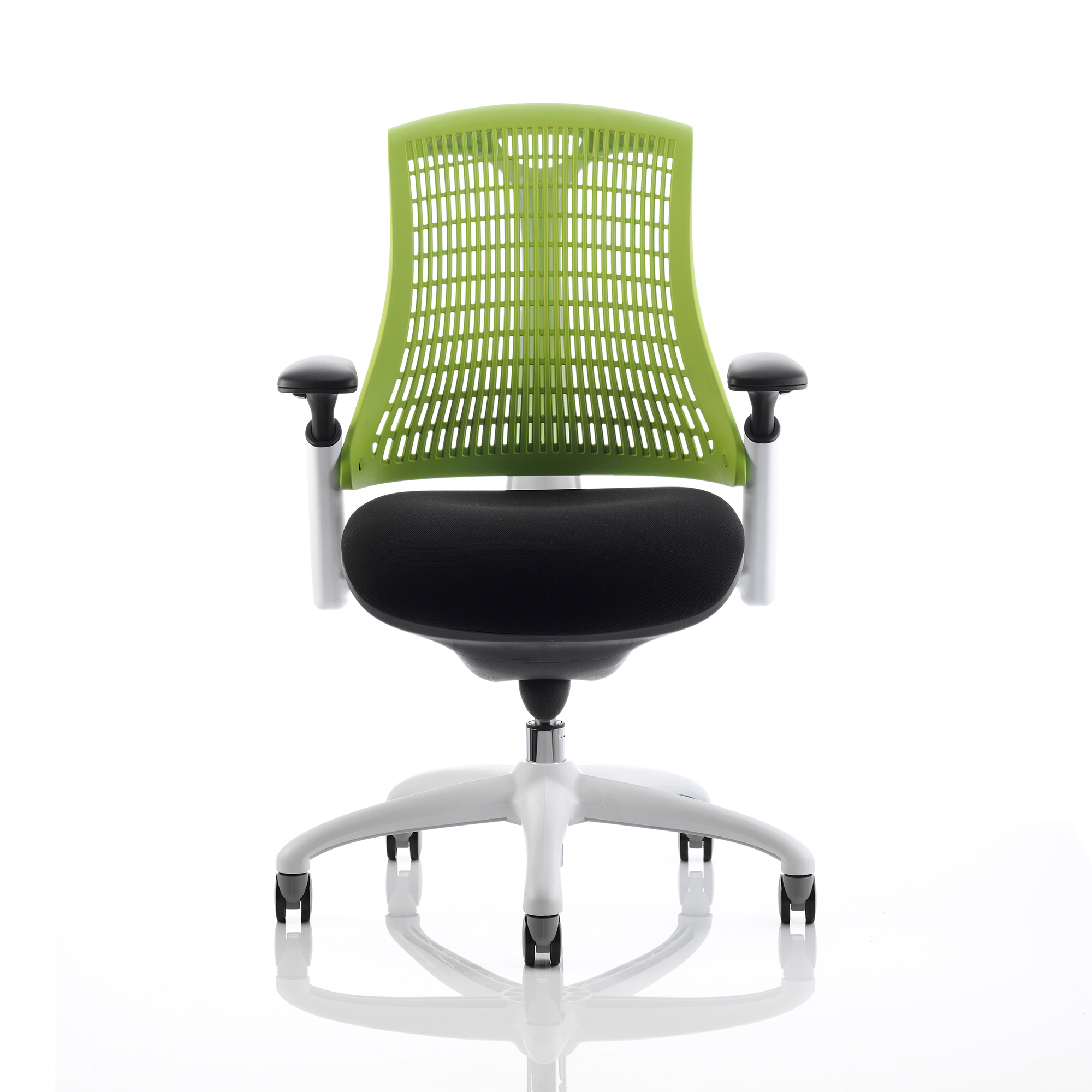 Trexus Flex Task Operator Chair With Arms Black Fabric Seat Green Back White Frame Ref KC0058
