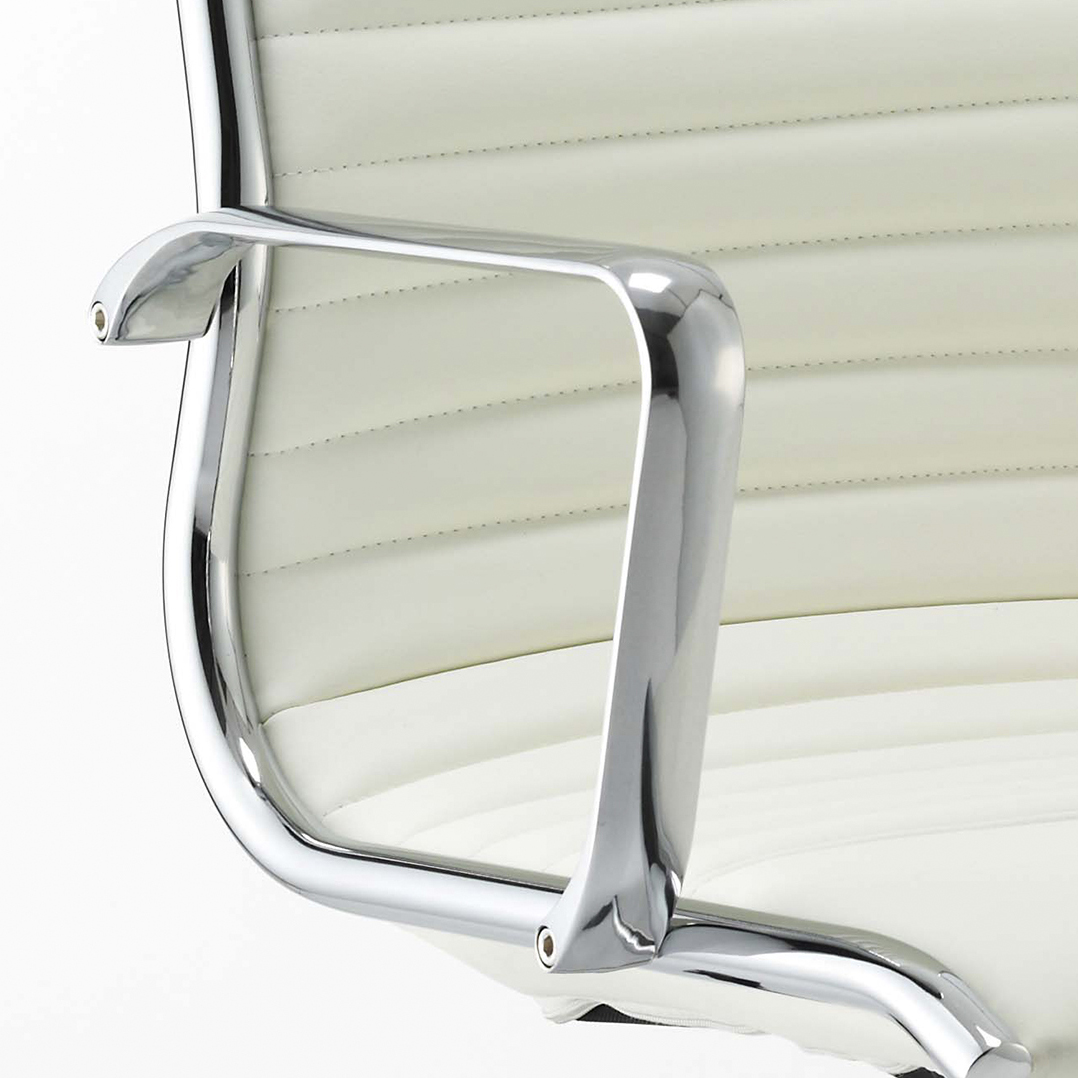 Sonix Ritz Executive Medium Back Chair With Arms Bonded Leather Ivory Ref EX000060