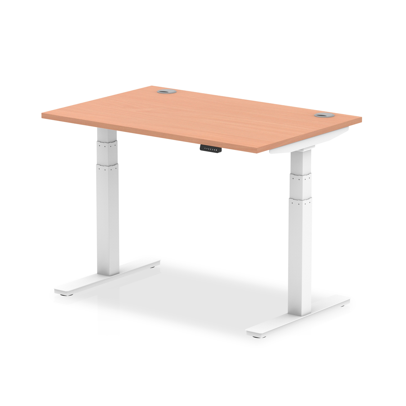 Trexus Sit Stand Desk With Cable Ports White Legs 1200x800mm Beech Ref HA01101