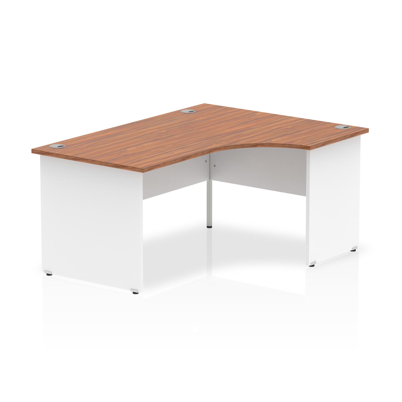 Trexus Desk Crescent Right Hand Panel End 1600x800mm Walnut Top White Panels Ref TT000037