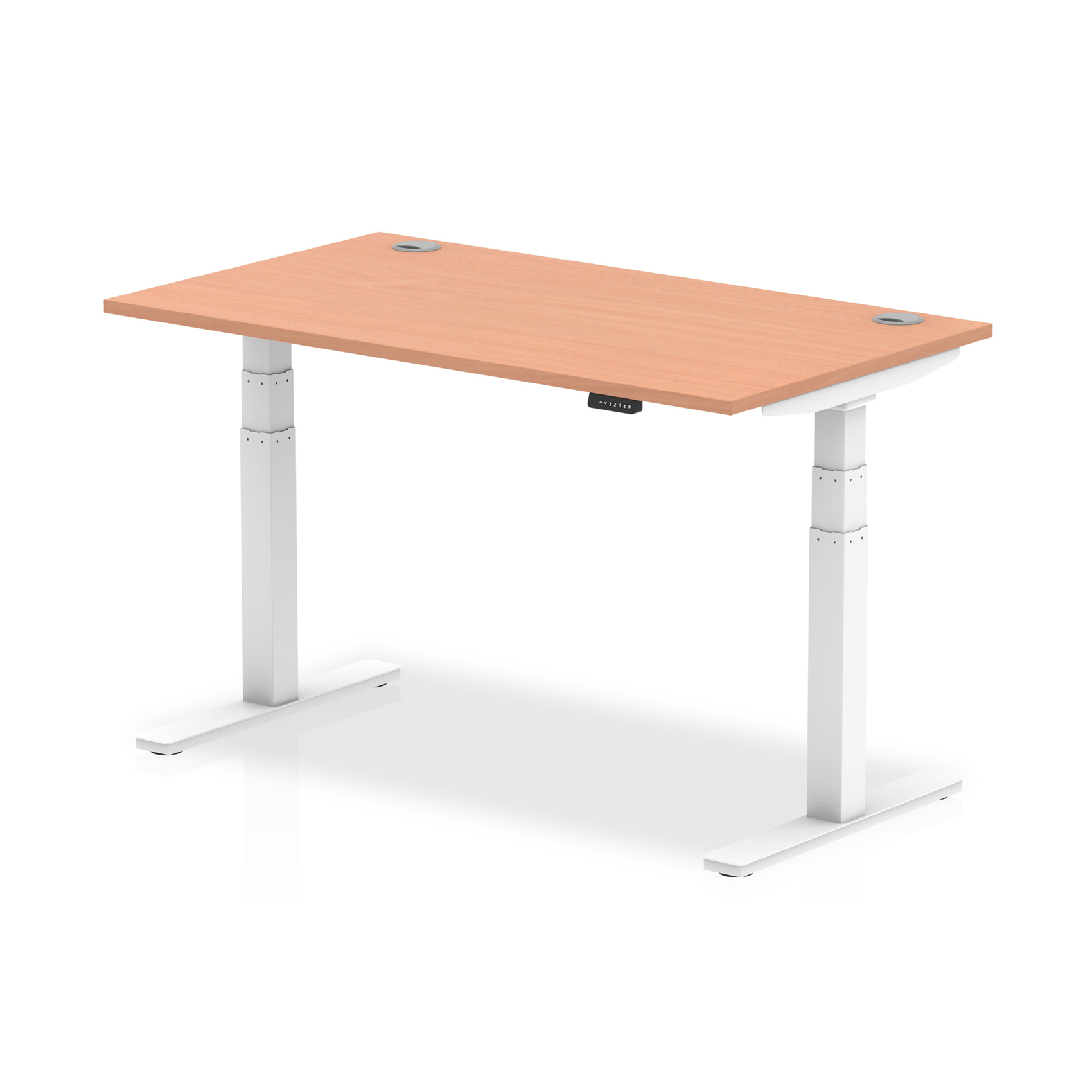 Trexus Sit Stand Desk With Cable Ports White Legs 1400x800mm Beech Ref HA01102