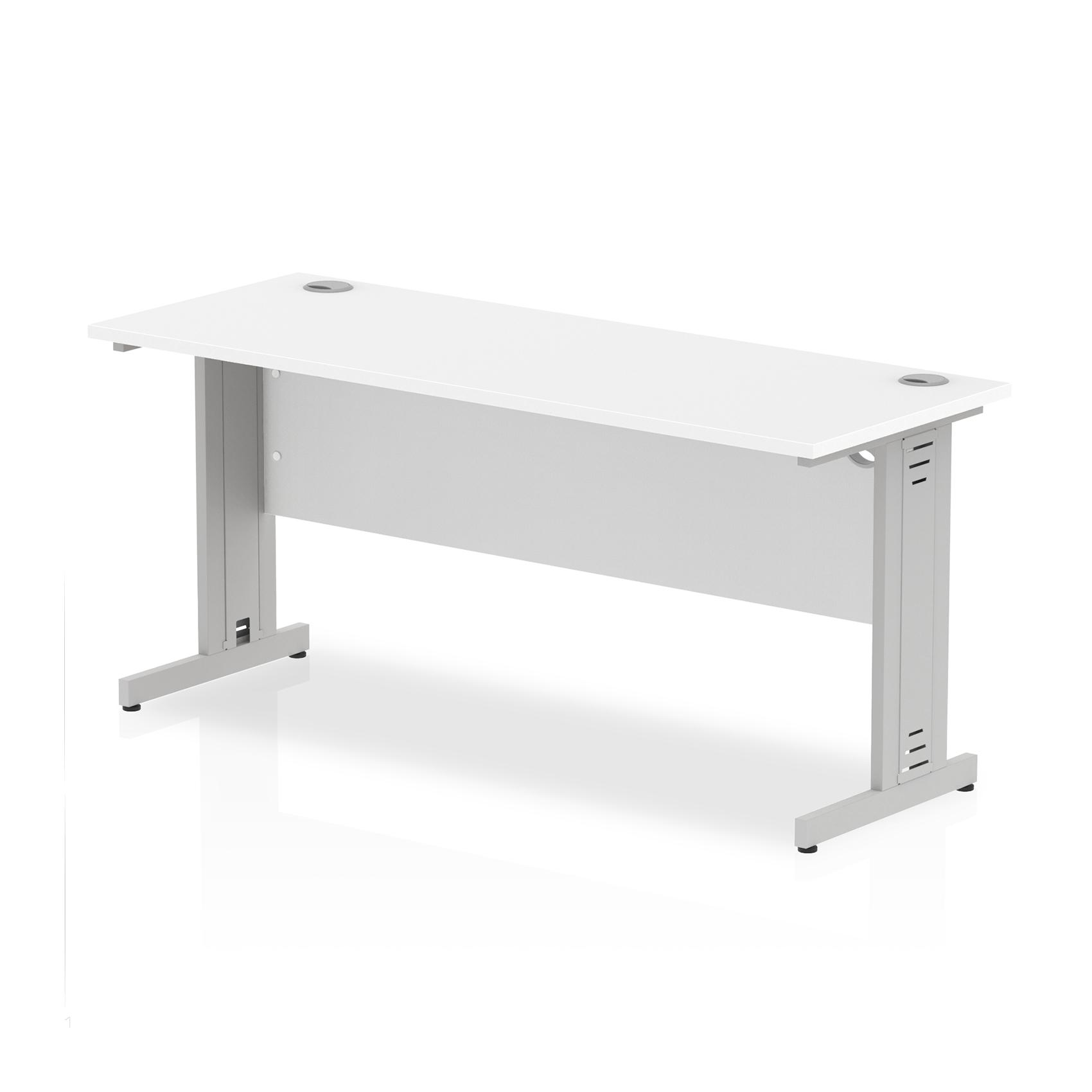 Trexus Desk Rectangle Cable Managed Silver Leg 1600x600mm White Ref MI002278
